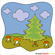Paddestoelen in het bos Clipart - Herfstafbeeldingen gratis