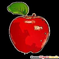 Măr roșu cu frunze verzi miniaturi, imagine, desene animate