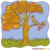 Bird on the Branch Clipart - Autumn pictures gratis