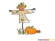 Vogelverschrikkerbeeld, klemkunst, illustratie