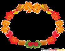 Cadru decorativ pe tema toamnei - frunze, mere, dovleac