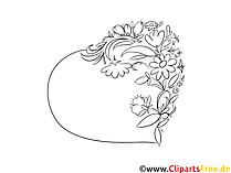 ハートの絵、カラーリング、イラスト白黒の花巻きひげ