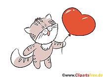 ハート、バルーン、猫のクリップアート無料