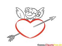 ハート、弓、矢のクリップアートとキューピッド