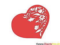 花の巻きひげのあるハートクリップアート無料