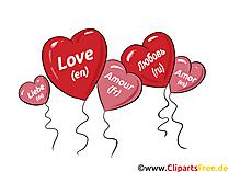 Herzen als Luftballons, Liebe Clipart, Bild, Grafik, Comic