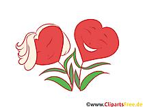 花の様式化された写真、グラフィック、クリップアートとしてのXNUMXつの心