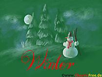 Tła pulpitu zima, śnieg, bałwan, las