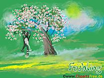 春のデスクトップの背景の木