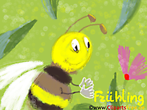 Wiosenne tło pulpitu, pszczoła, kwiaty, ekspresjonizm