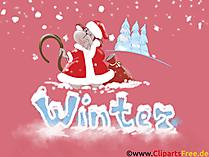 Tło pulpitu Jakość HD Boże Narodzenie, Święty Mikołaj, zima, śnieg