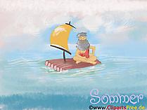 Darmowe tapety na pulpit Robinson na tratwie z żaglem na otwartym morzu