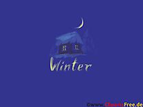 デスクトップの画像冬の夜のコテージ