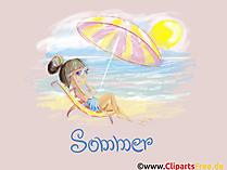 Kobieta na krześle plaży na plaży Obraz tła tapety