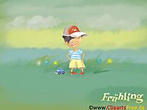 壁紙春 - 緑の牧草地の小さな男の子