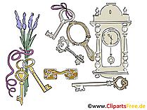 壁掛け時計と鍵無料