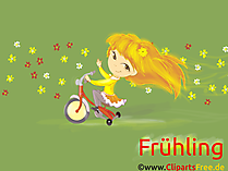 無料のデスクトップ画像春、自転車、女の子、子供