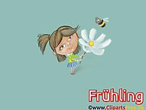 Darmowe tła Wiosna, rumianek, kwiat, pszczoła, dziewczyna