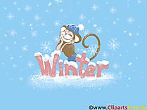 PC tapeta małpa Nowy Rok, zima, śnieg, Nowy Rok, Boże Narodzenie