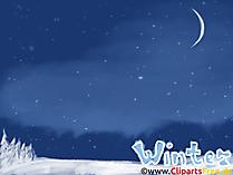 Tapety na PC Zima, noc, księżyc, gwiazdy, nocne niebo