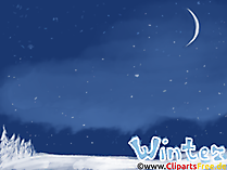 PCの壁紙冬、夜、月、星、夜空
