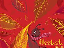 Piękne tło obrazu Mrówka, czerwone liście, jesień