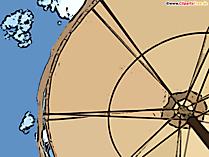 Parasol et illustration de dessin animé de ciel bleu, clipart