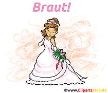 Gelin clipart, düğün resim, illüstrasyon