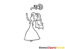 Braut mit Brautstrauß Bild, Zeichnung, Clipart gratis