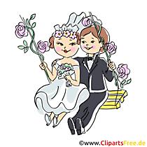 Bruid en bruidegom clipart, illustratie voor je eigen kaart