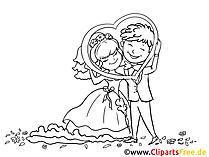 Brautpaar mit Herzrahmen Bild, Zeichnung, Clipart gratis