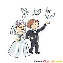 Bruidspaar met duiven clipart, illustratie voor trouwkaarten