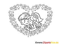 Yeni evliler çizim, resim, küçük resim, illüstrasyon
