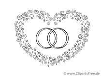 Herz und Trauringe Zeichnung, Clipart, Bild kostenlos