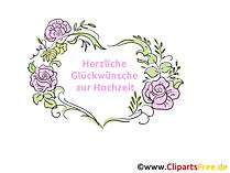 Herzliche Glückwünsche zur Hochzeit Clipart-Bild kostenlos