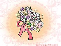 Hochzeit Bouquet Clipart, Bild, Illustration, Grusskarte gratis
