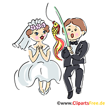 Bruiloft kaart pasgetrouwden heeft goudvis clipart, illustratie, foto gevist