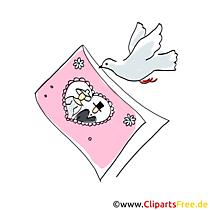 Trouwkaart met foto draagt duif kaart, illustraties, afbeeldingen