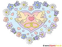 Kalp clipart ile düğün güvercinler