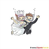 Su altında kart düğün