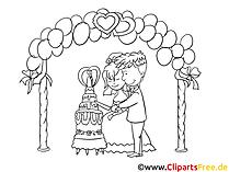Kirchliche Trauung Clipart, Zeichnung, Bild schwarz-weiss