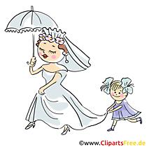 Meisje draagt jurk van bruid illustratie, illustraties, afbeeldingen