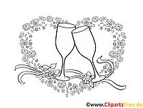Sektgläser zur Hochzeit Clipart, Bild, Cartoon, Grafik