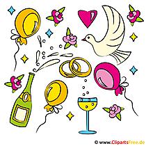 Witzige Cliparts zu Hochzeit kostenlos