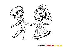 Düğün, yeni evliler, mutlu aşıklar boyama için çizim