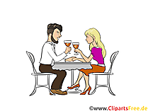 レストランでのデート愛のクリップアート、写真、イラストの美しいカップル