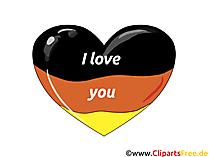 Ich liebe Deutschland Karte, Clipart, Comic, eCard gratis
