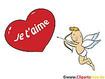 Ich liebe dich Französisch Grusskarte, Clipart, GB Bild, Grafik, Cartoon