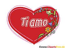 Ich liebe dich Italienisch Grusskarte, Clipart, GB Bild, Grafik, Cartoon