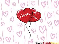 Ich liebe dich Sprüche in diversen Sprachen -  Grusskarte, Clipart, GB Bild, Grafik